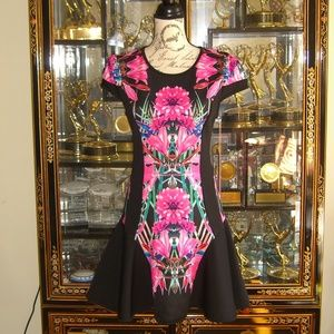 GINGER FIZZ MIRRORED FLORAL PRINT DRESS UK10 US6
